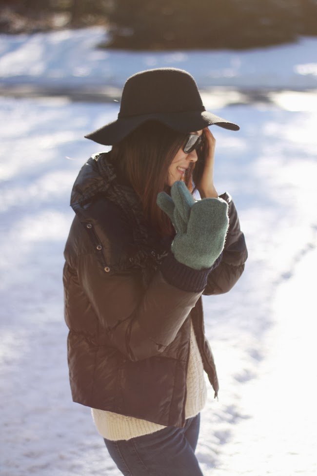 winter hat, winter mittens, winter accessories, snow day outfit, winter outdoor outfit, black winter jacket, black wool floppy hat, green mittens