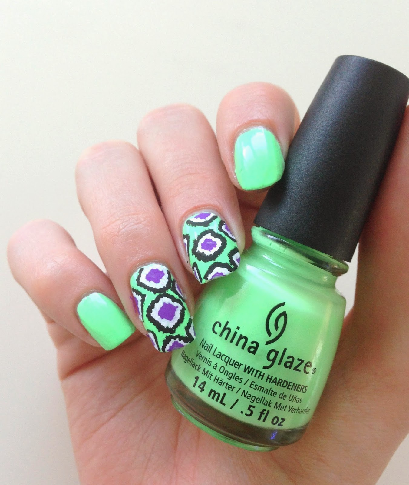 china glaze highlight of my summer ikat nails