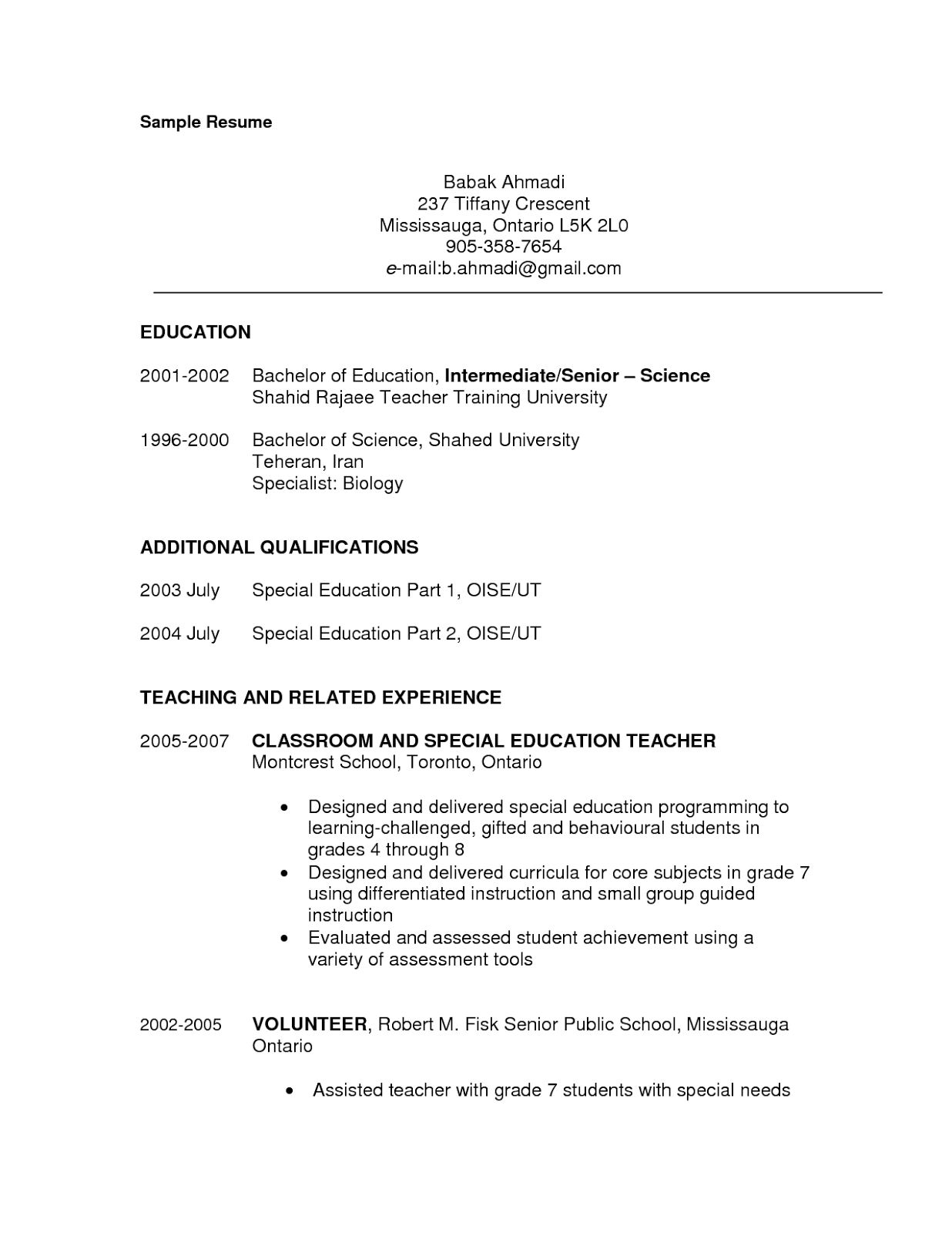 special needs teacher resume best resume collection - Special Education Teacher Resume