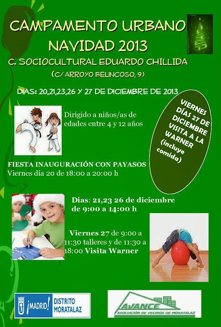 Campamento urbano Navidad 2013 para los Niños de Moratalaz.