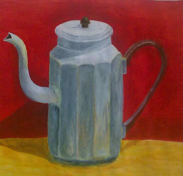 cafetera del natural pintada en acrilico