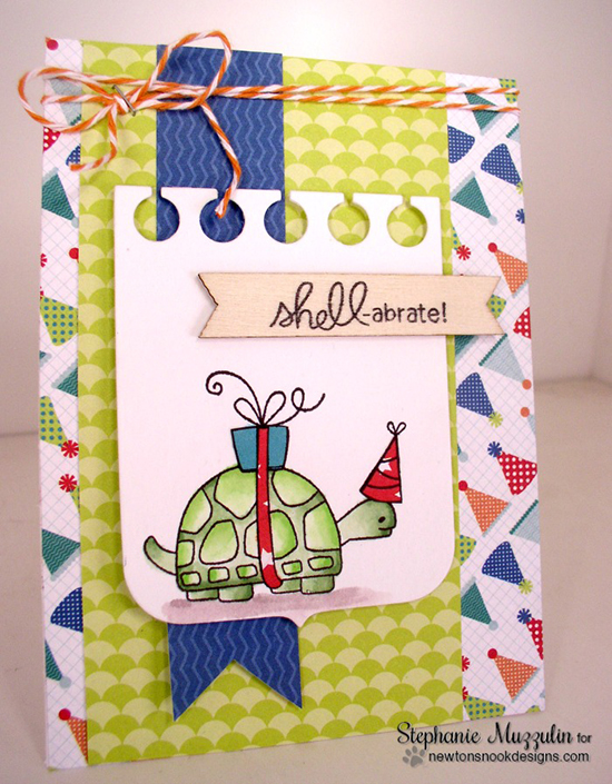 Shell-abrate Turtle Birthday Card by Stephanie Muzzulin | In Slow Motion Stamp set by Newton's Nook Designs