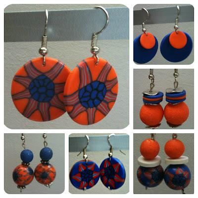Boucles d'oreilles fimo / polymère / orange bleu fleur