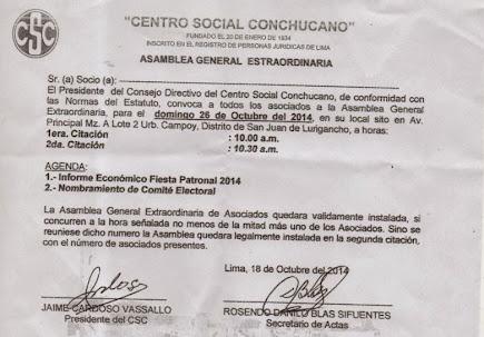 ASAMBLEA GENERAL DE SOCIOS 26 OCTUBRE 2014