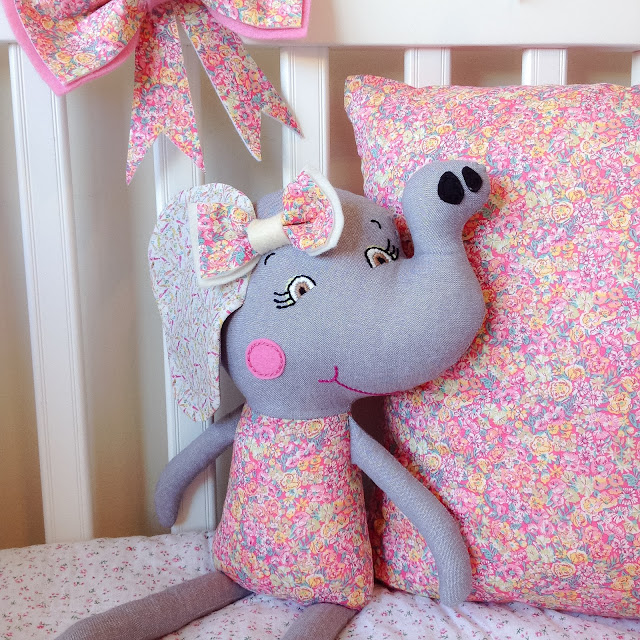 Liberty Chive Elephant Doll with matching bow