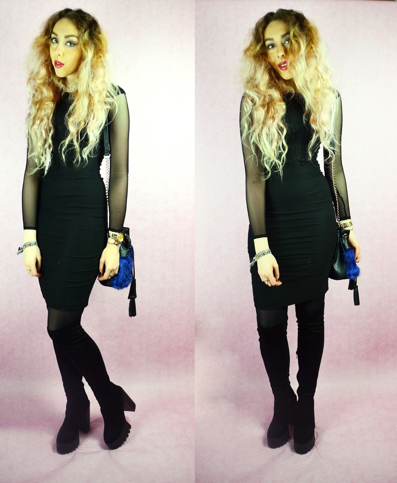 Valentines Day, Hybrid Haeley Mesh Sleeve Dress with Lace Detail Black, Stephi LaReine, UK Lifestyle Blog, Thigh High Boots