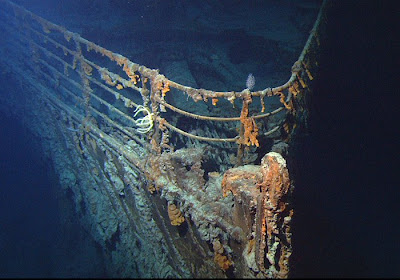 Photo of Titanic wreck underwater