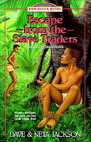 cover of Escape from the Slave Traders by Dave & Neta Jackson shows a boy tied up by a tree asking another boy for help