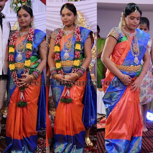 Orange and Blue bridal Saree