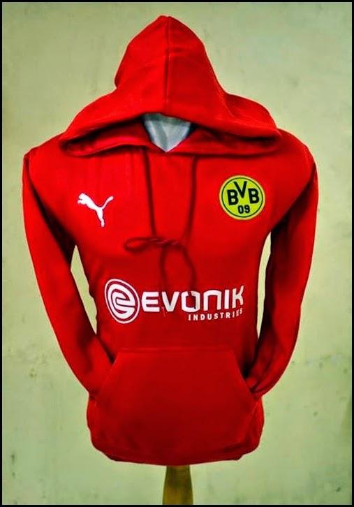 Jumper Hoodie Bola Polos (Satu Warna) - Dortmund Merah