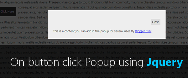 How to create a popup on a button click event