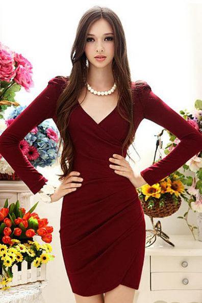 Fashion V Neck Long Sleeve Waist Polyester Dress