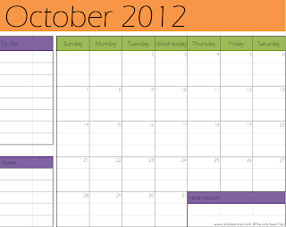 October 2012 Calendar - Halloween Themed