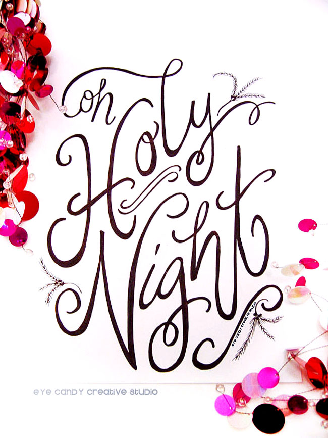 hand lettered christmas art print, christmas art, oh holy night