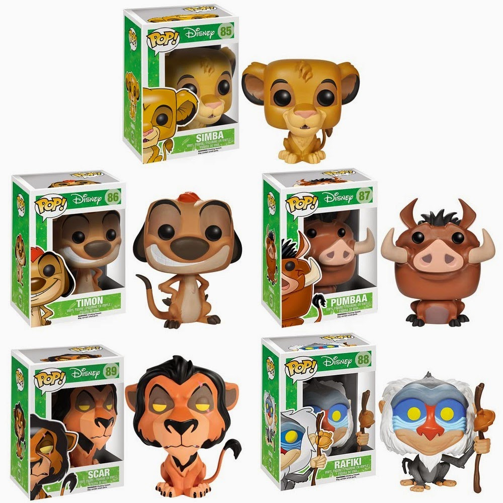 The Lion King Pop! Disney Vinyl Figures by Funko - Simba, Timon, Pumbaa, Scar & Rafiki