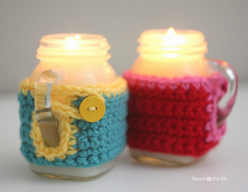 Repeat crafter me mason jar mug crisco candles with crochet cozy