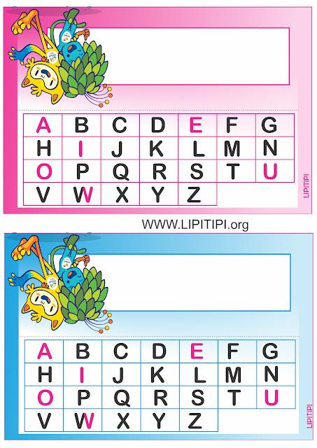 Crachás com alfabeto de mesa Mascotes Olimpíadas 2016