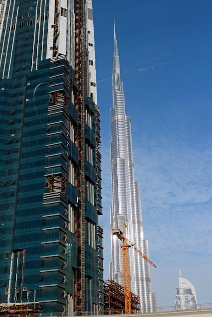 view of the Burj Khalifa in Dubai in United Arab Emirates