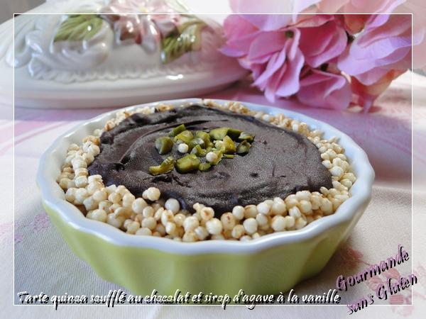 Tarte quinoa soufflé au chocolat et sirop d'agave à la vanille