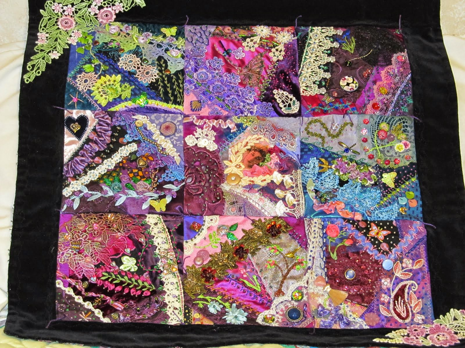 Beaded crazy quilt all original