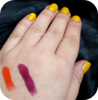 Swatches - Milani Color Statement Sweet Nectar 01 & Black Cherry 24