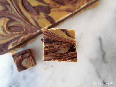chocolate fudge with a peanut butter swirl overhead shot