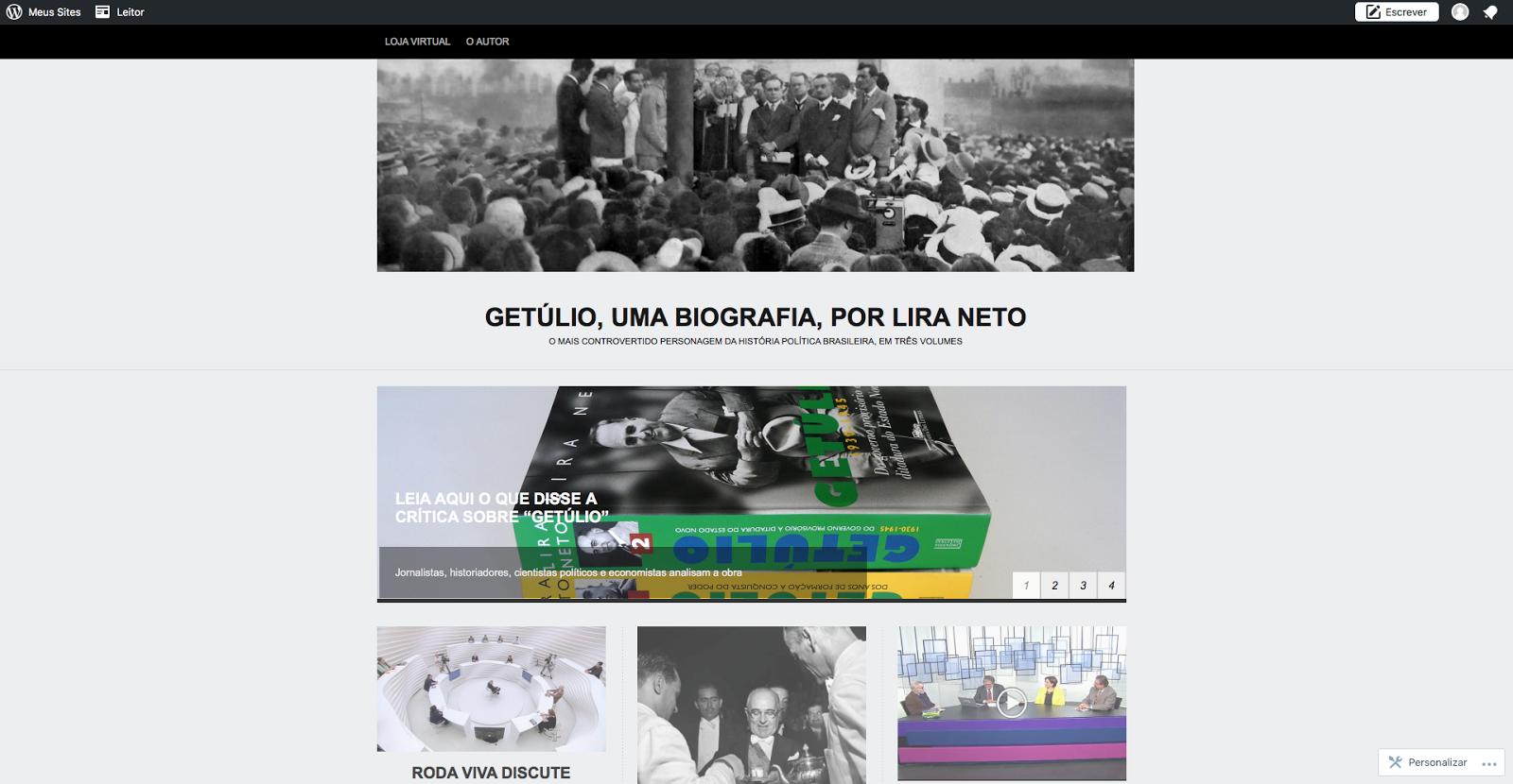 """Página da biografia """"Getúlio"""""""