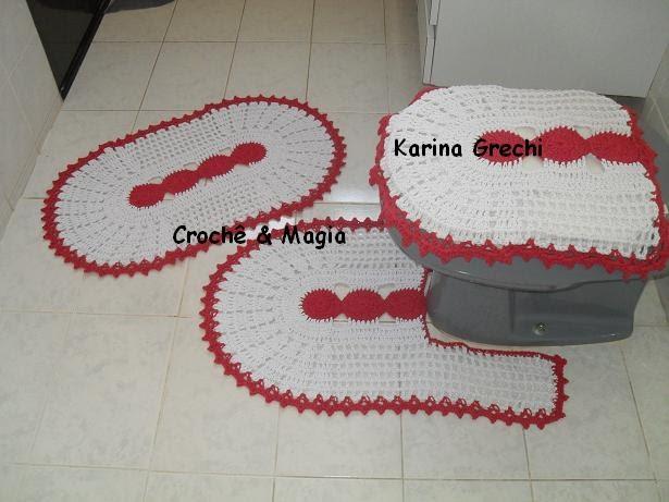 Jogos De Banheiro Vermelho E Branco : Croch? magia jogo de banheiro branco e vermelho modelo