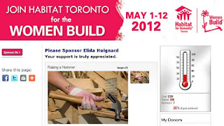 Sponsor Elida Huignard in The Habitat for Humanity Toronto Women Build (May 1-12, 2012), webpage screenshot