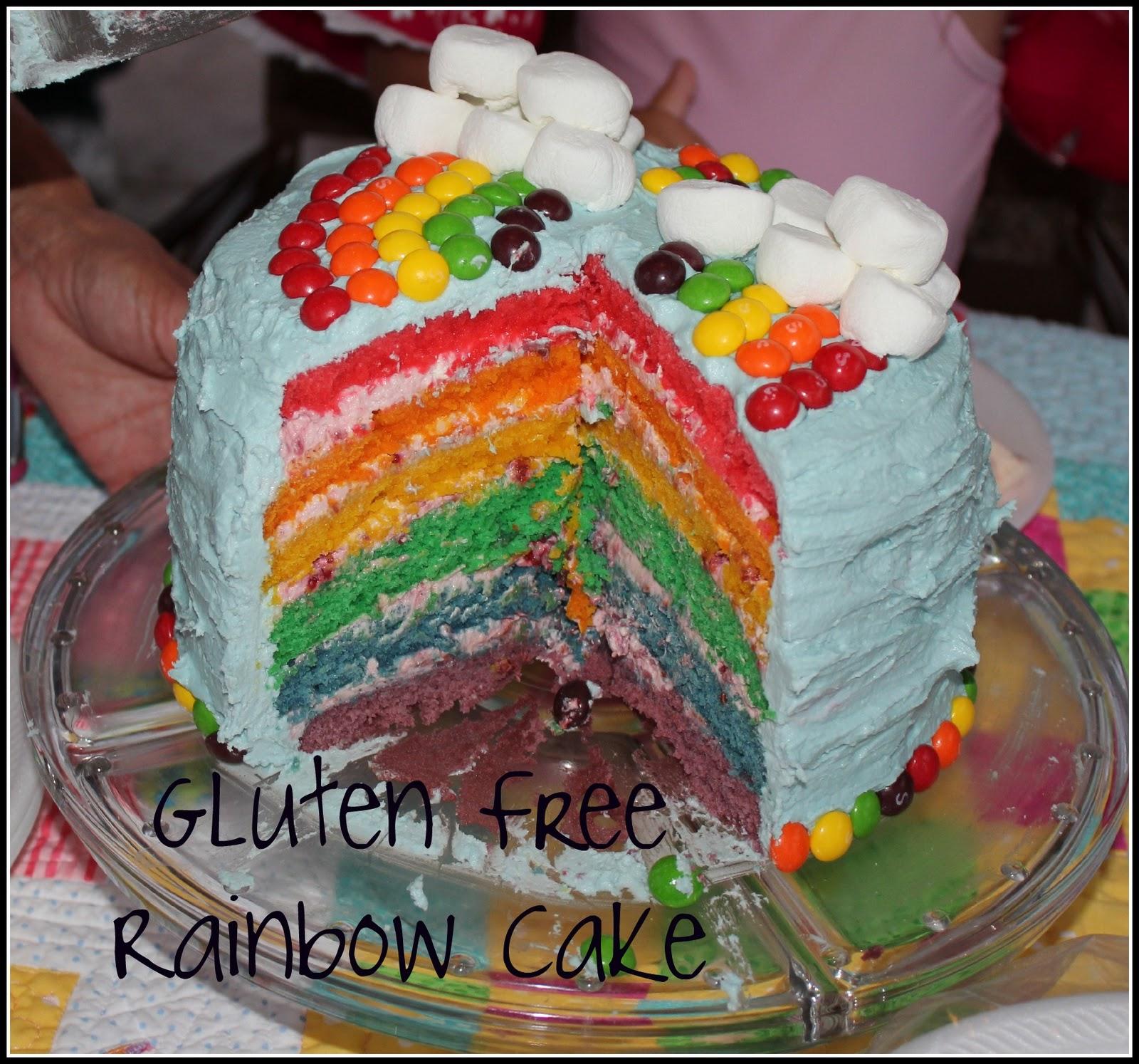 Taming of the celiac Sprue Gluten Free Rainbow Cake