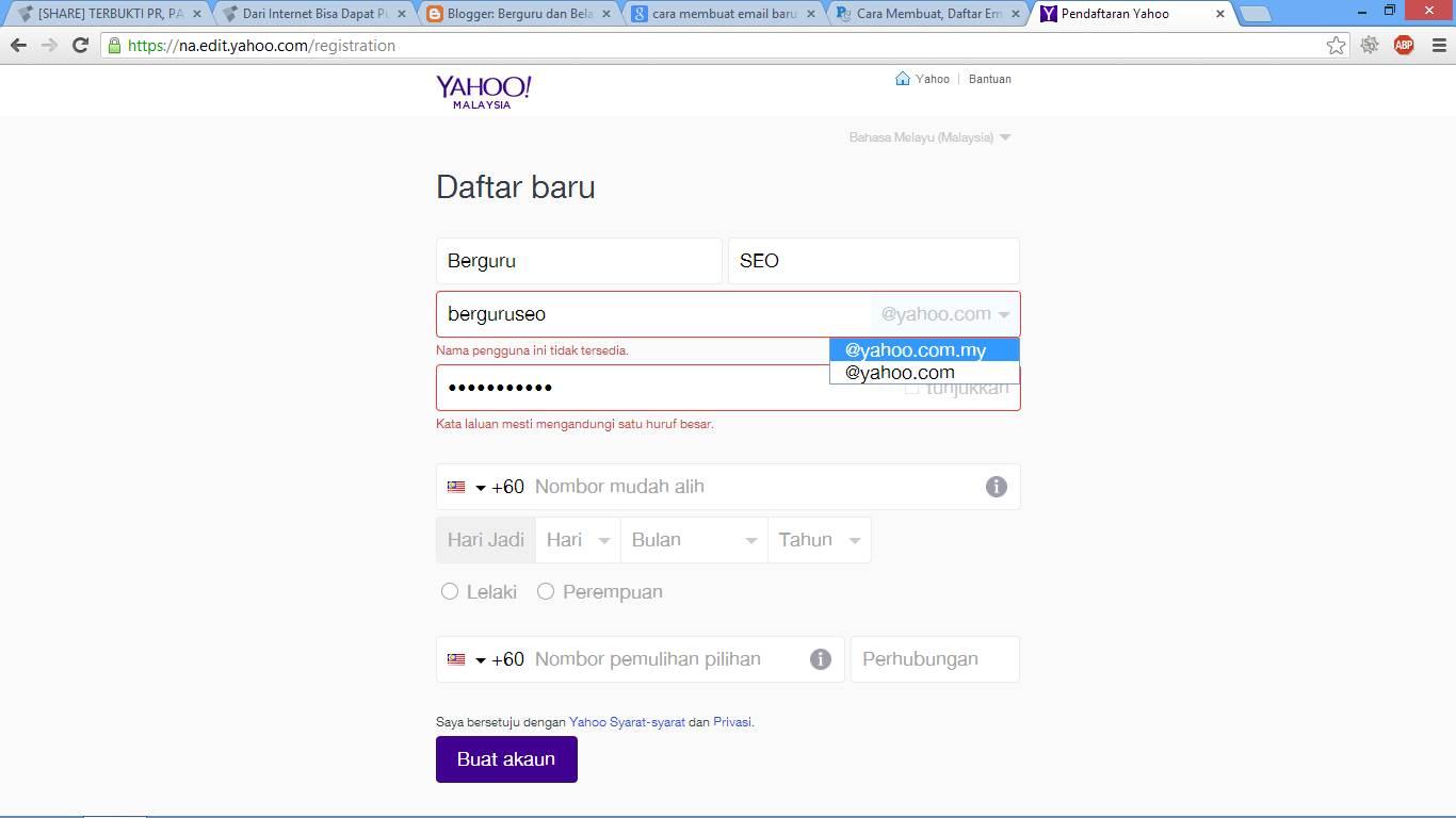 Cara Membuat Email Baru di Yahoo Indonesia gambar 3
