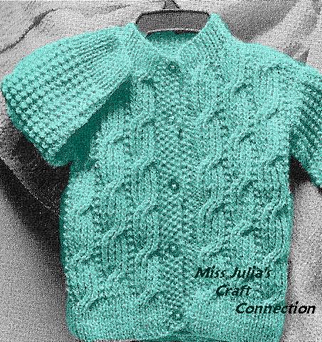 B191 - 1960s Baby's Irish Aran Cable Cardigan Knit Pattern