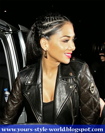 Nicole Scherzinger Styled Her Hair In Funky Cornrow Braids And A Long Pony Tail For Cool Edgy Look
