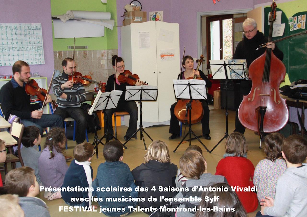 Concert Jeunes Public, présentation des clés d'écoutes des quatre Saisons d'Antonio Vivaldi avec l'ensemble Sylf et le FESTIVAL Jeunes Talents de.