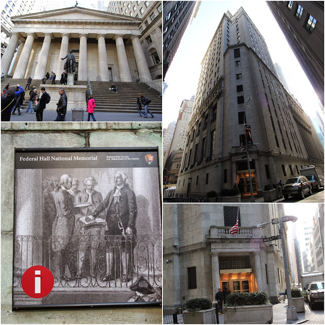 Federal Hall and New York Stock Exchange in the Financial District in the downtown of Manhattan, New York, USA