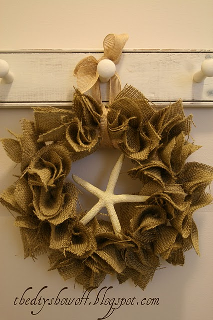 Burlap Starfish Wreath