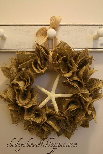 Burlap Starfish Wreath