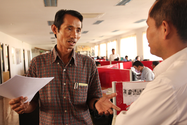 Chut Wutty at the Phnom Penh Post main office earlier this year. Photo
