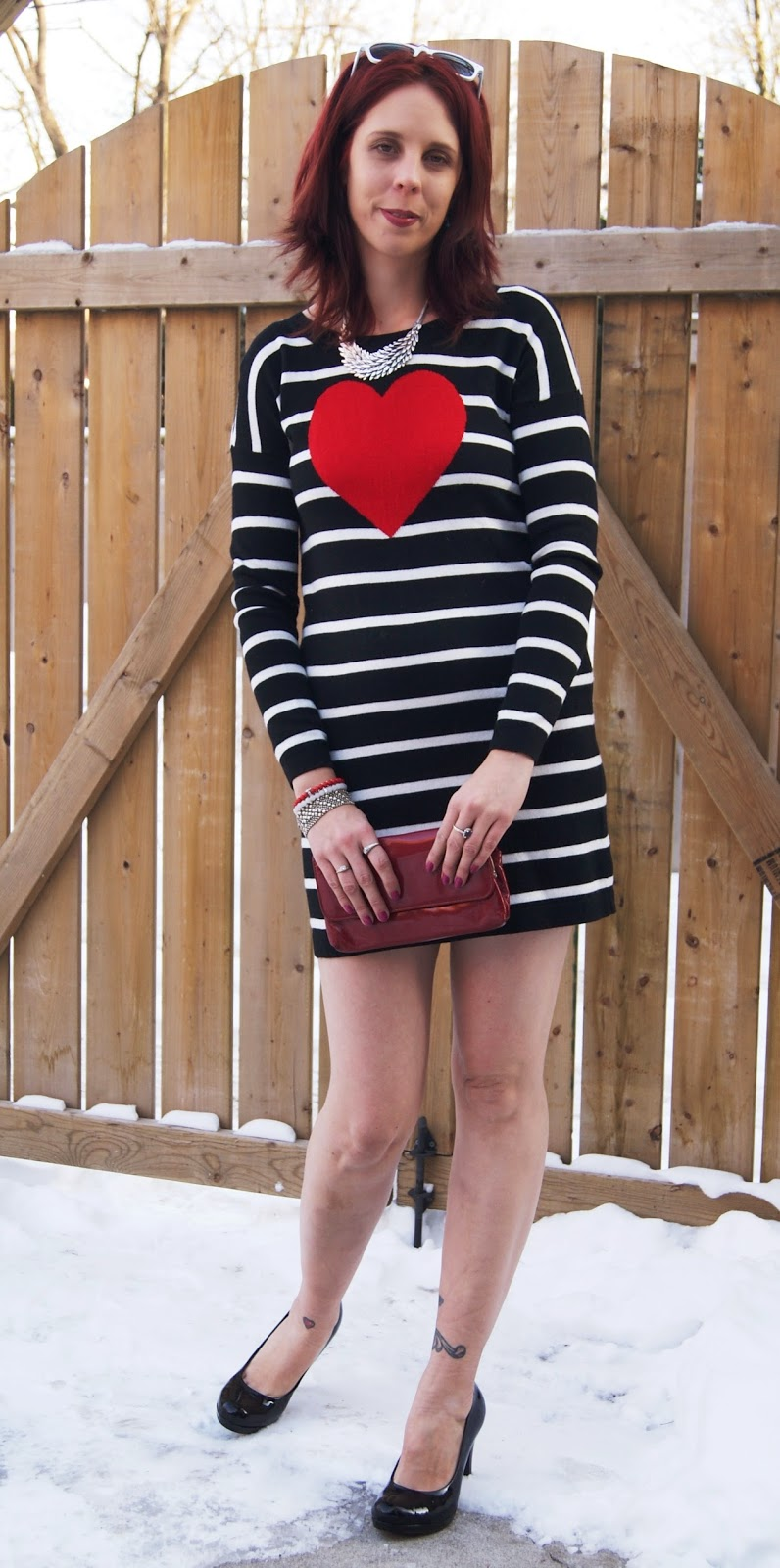 Valentine's Day Look: Express Heart Sweater Dress, Shop For Jayu Necklace, Black Pumps, White Sunglasses, Vintage Red clutch, Joseph Nogucci Memory Stone Bracelets, Fashion, Style, Melanie.Ps The Purple Scarf Toronto Blogger
