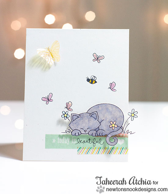 Cat Daydream Card by Taheerah Atchia for Newton's Nook Designs - Newton's Daydream Cat stamp set