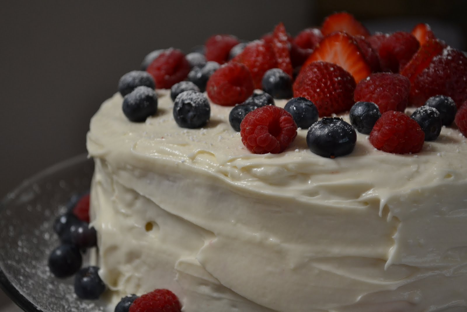 ... : Red Velvet Cake with Raspberries, Strawberries, and Blueberries