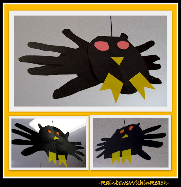 photo of: Fall Black Bats Using Traced Handprints for Wings (Fall RoundUP via RainbowsWithinReach)