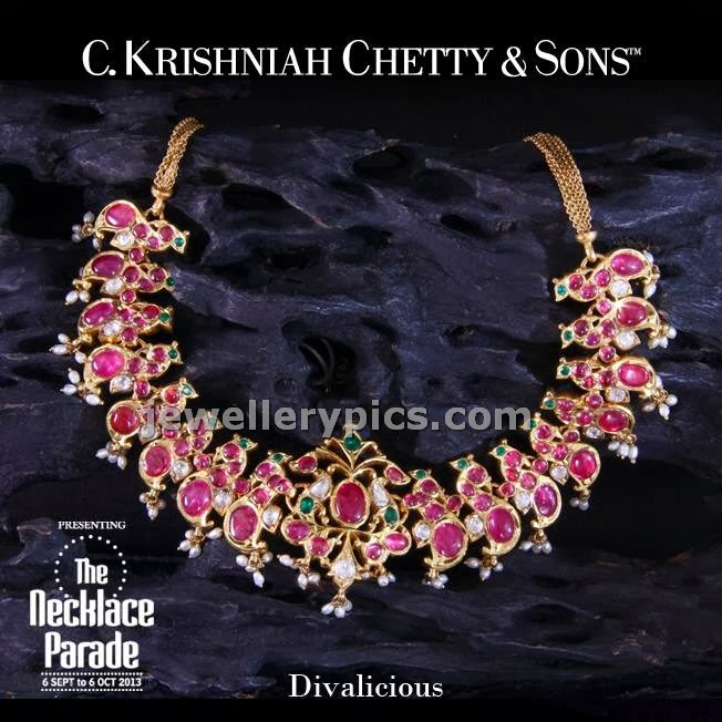 c krishnah chetty ruby kundan necklace set