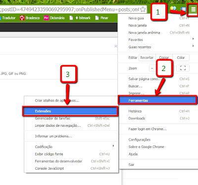 Configuração de Extensões no Google Chrome
