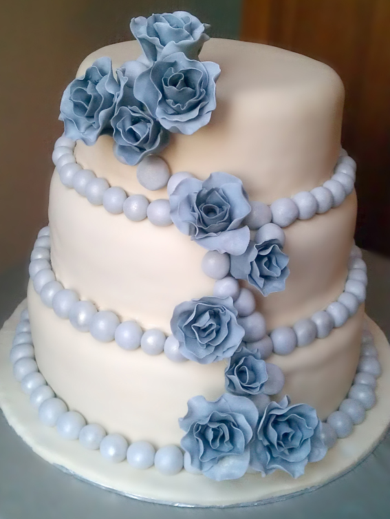 3 Tier Wedding Cake with Grey Roses and Pearl Decor