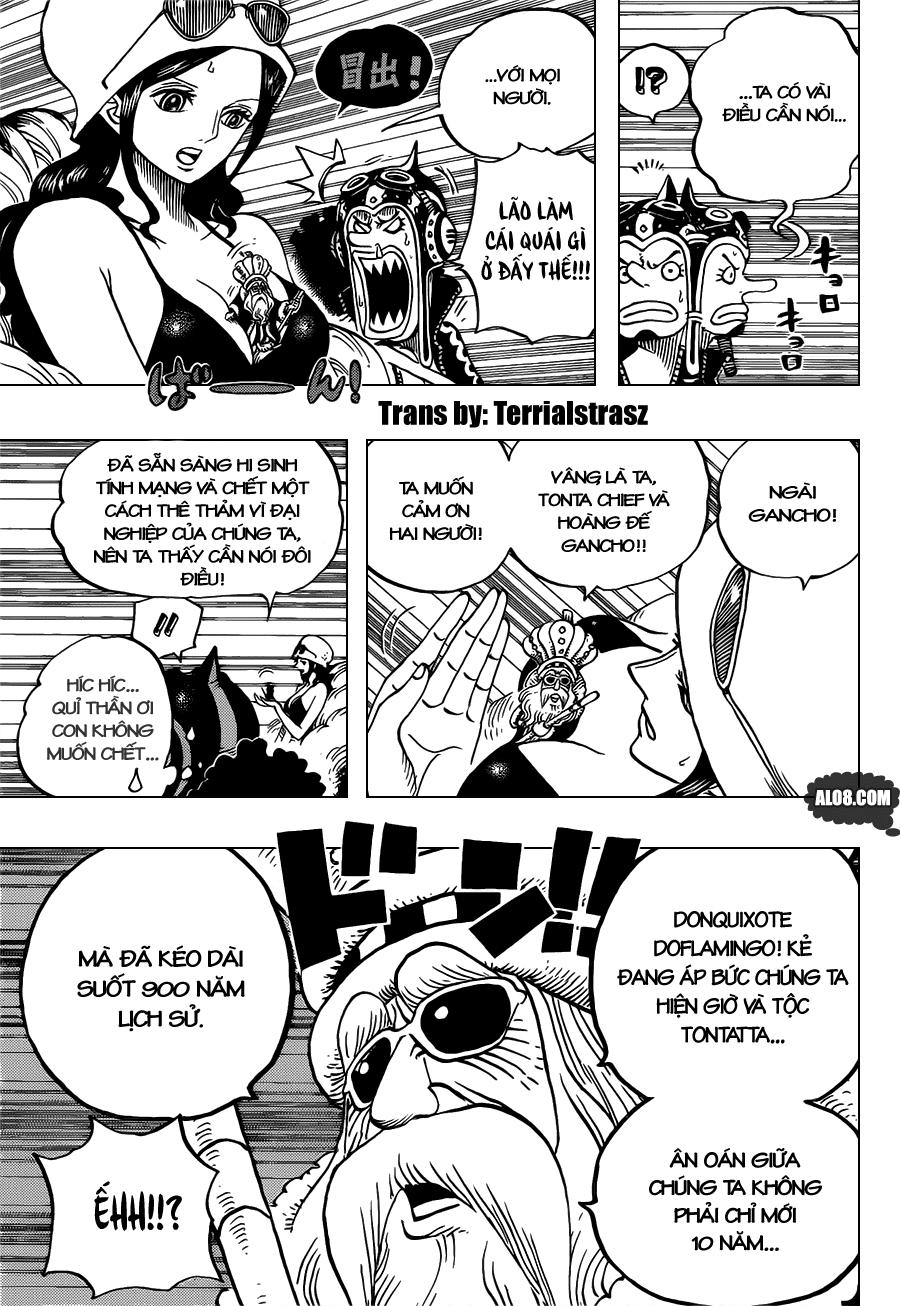 One Piece Chapter 718: Những chiến binh hoàng gia Riku ở cánh đồng hoa 006