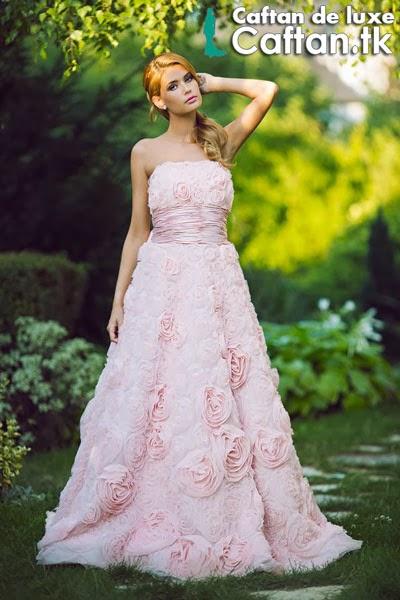Robe de soirée fleurs vieux rose