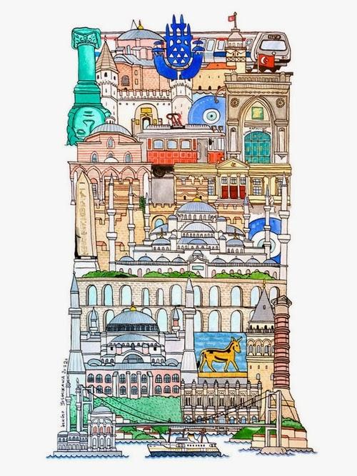 09-I-Istanbul-Turkey-Hugo-Yoshikawa-Illustrated-Architectural-Alphabet-City-Typography-www-designstack-co