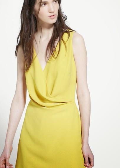 Mango 2015 Elbise Modelleri sarı renk gece elbisesi, yaza özel şık ve güzel elbise