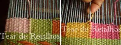 O mesmo fio do urdume é compartilhado para fazer uma emenda vertical de duas cores sem fenda